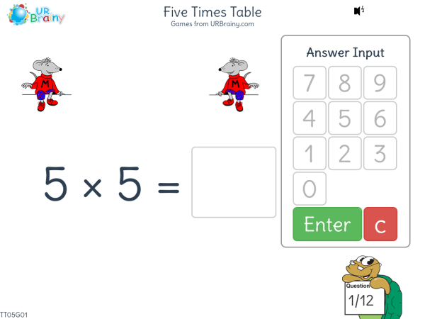 Preview of 'Five Times Table (5x)'