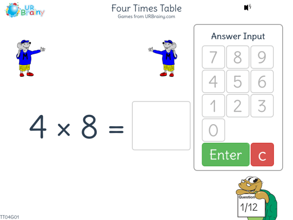 Preview of 'Four Times Table (4x)'