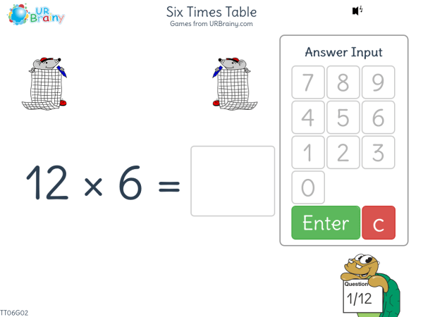 Preview of 'Six Times Table (x6)'