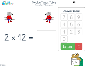 Preview of game Twelve Times Table (x12)