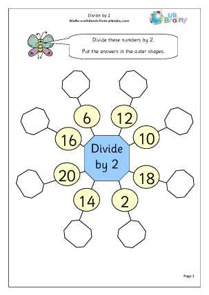 Preview of worksheet Divide by 2 (1)