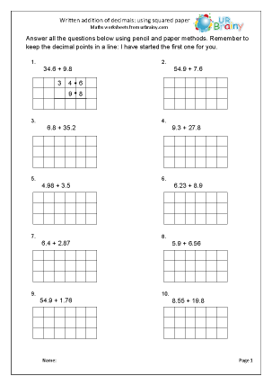 Preview of worksheet Written addition of decimals with squared paper.