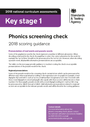 Preview of worksheet 2018 Phonics Scoring Guidance