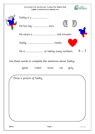 Preview of worksheet Complete the sentences: Subby the Maths Rat