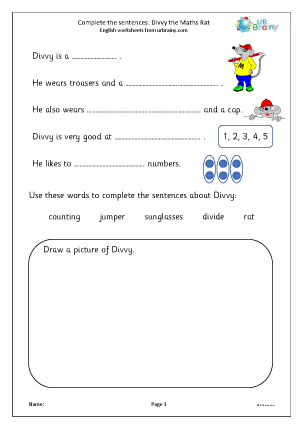 Preview of worksheet Complete the sentences: Divvy the Maths Rat