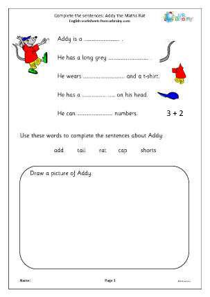 Preview of worksheet Complete the Sentences: Addy the Maths Rat