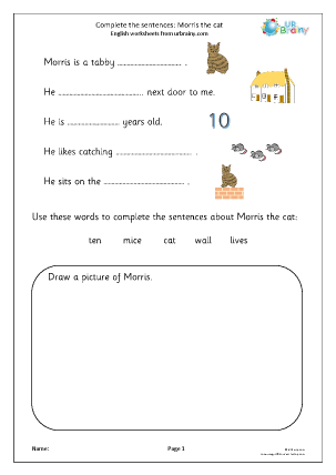Preview of worksheet Complete the sentences: Morris the Cat