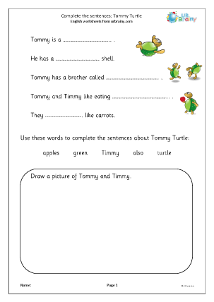 Complete the Sentences: Tommy Turtle