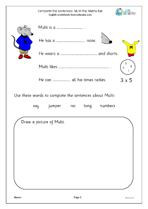Preview of worksheet Complete the sentences: Multi the Maths Rat