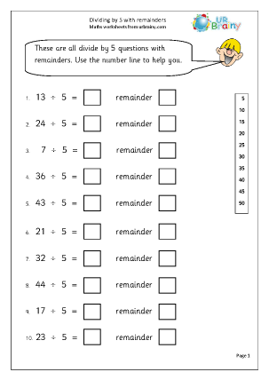 Divide by 5 with remainders Division Maths Worksheets For Year 2 (age ...