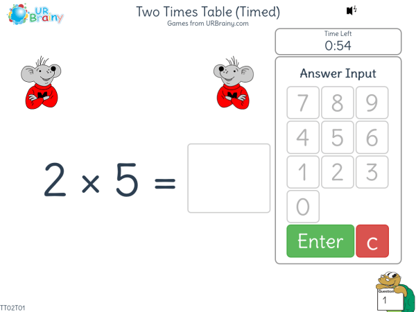 Preview of 'Two Times Table (2x)  One Minute Challenge'