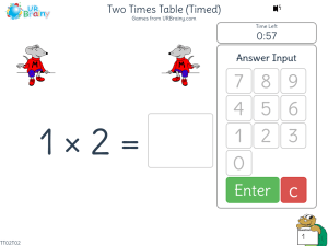 Preview of game Two Times Table (x2) One Minute Challenge