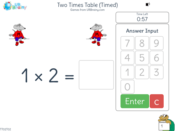 Preview of 'Two Times Table (x2) One Minute Challenge'
