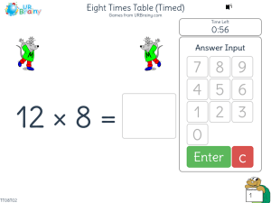 Preview of game Eight Times Table (x8) One Minute Challenge