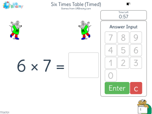 Preview of game Six Times Table (6x) One Minute Challenge