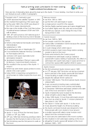 Preview of worksheet Lead up to Apollo 11 Moon Landing: Factsheet