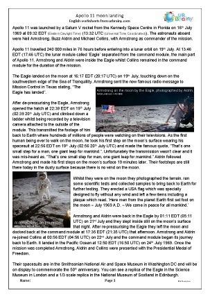 Preview of worksheet Apollo 11 Moon Landing
