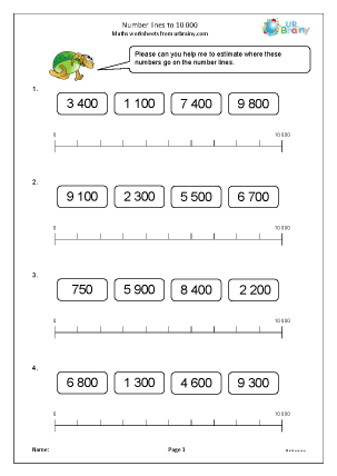 Preview of worksheet Number lines to 10 000
