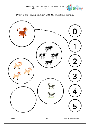Preview of worksheet Matching sets to a number line: farm