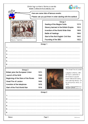 Preview of worksheet Ordering numbers: famous events