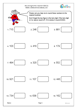 Preview of worksheet Rounding to the nearest 100 (1)