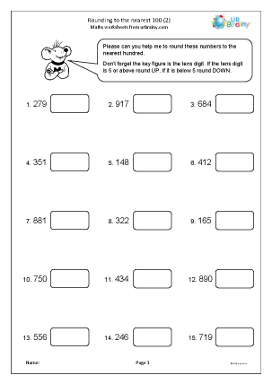 Preview of worksheet Rounding to the nearest 100 (2)
