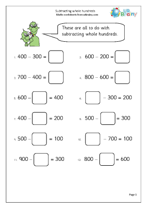 Preview of worksheet Subtract whole hundreds