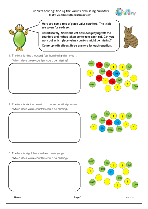 Preview of worksheet Problem solving: finding the values of missing counters