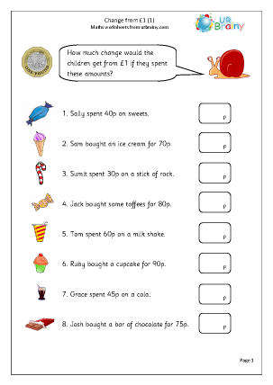 Preview of worksheet Change from a pound (1)
