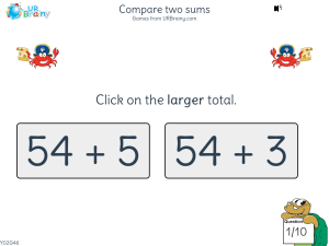 Preview of game Compare two sums
