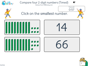 Preview of game Compare four 2-digit numbers (Timed)
