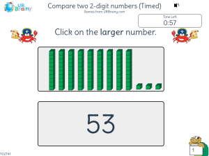 Preview of game Compare two 2-digit numbers (Timed)
