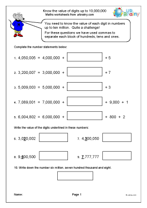 Preview of worksheet Know the value of digits