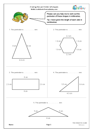 Preview of worksheet Finding the perimeter of shapes