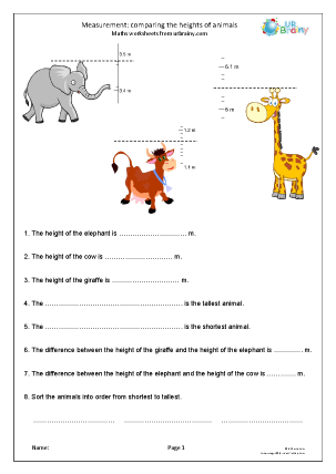 Preview of worksheet Measurement: comparing the heights of animals