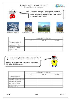 Preview of worksheet Rounding numbers: hills and mountains