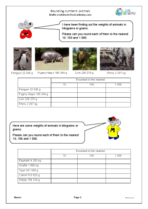 Preview of worksheet Rounding numbers: the weight of animals