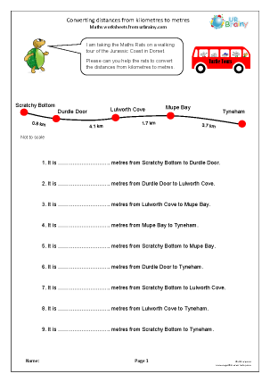 Preview of worksheet Distance: converting kilometres to metres