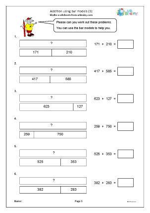 Preview of worksheet Addition using bar models (1)