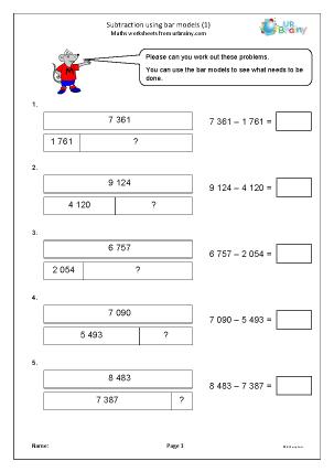 Preview of worksheet Subtraction using bar models (1)