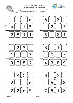 Preview of worksheet Subtraction: missing digits (2)