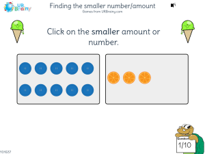 Preview of game Finding the smaller number/amount