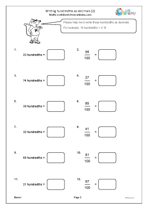 Preview of worksheet Writing hundredths as decimals (2)