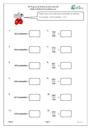 Preview of worksheet Writing hundredths as decimals (3)