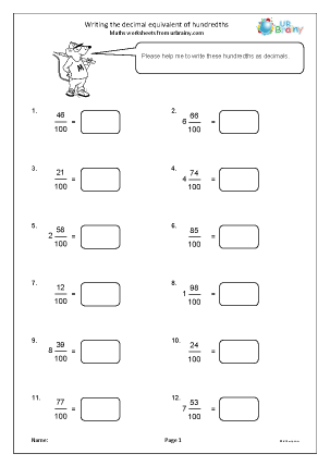 Preview of worksheet Writing the decimal equivalent of hundredths