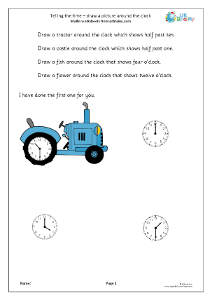 Preview of worksheet Telling the time: draw around the correct clock