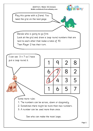 Preview of worksheet Addition: make 10 loops