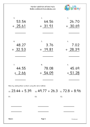 Preview of worksheet Harder written addition of decimals