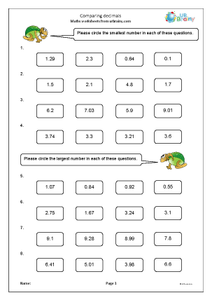Preview of worksheet Comparing decimals