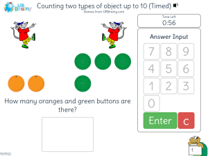 Preview of game Counting 2 types of object up to 10 (Timed)